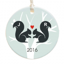 Personalised Squirrel Couple Christmas Tree Decoration - Personalized Ceramic Christmas Tree Bauble - Holiday Ornament